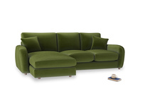 Large left hand Easy Squeeze Chaise Sofa in Good green Clever Deep Velvet