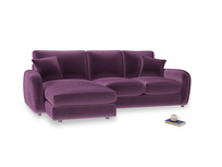Large left hand Easy Squeeze Chaise Sofa in Grape clever velvet