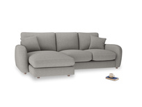 Large left hand Easy Squeeze Chaise Sofa in Marl grey clever woolly fabric