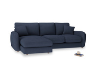 Large left hand Easy Squeeze Chaise Sofa in Night Owl Blue Clever Woolly Fabric