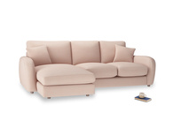 Large left hand Easy Squeeze Chaise Sofa in Pink clay Clever Softie