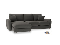 Large left hand Easy Squeeze Chaise Sofa in Old Charcoal brushed cotton