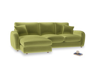 Large left hand Easy Squeeze Chaise Sofa in Olive plush velvet