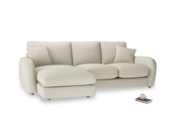Large left hand Easy Squeeze Chaise Sofa in Pale rope clever linen