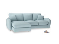 Large left hand Easy Squeeze Chaise Sofa in Powder Blue Clever Softie