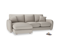 Large left hand Easy Squeeze Chaise Sofa in Sailcloth grey Clever Woolly Fabric