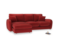 Large left hand Easy Squeeze Chaise Sofa in Rusted Ruby Vintage Velvet