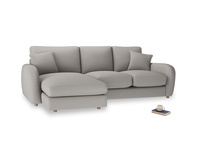 Large left hand Easy Squeeze Chaise Sofa in Safe grey clever linen