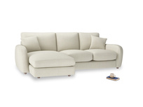 Large left hand Easy Squeeze Chaise Sofa in Stone Vintage Linen