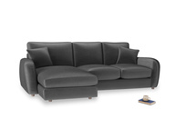 Large left hand Easy Squeeze Chaise Sofa in Scuttle grey vintage velvet