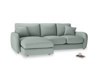 Large left hand Easy Squeeze Chaise Sofa in Sea fog Clever Woolly Fabric