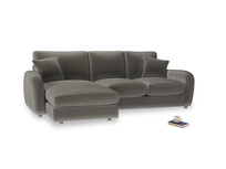 Large left hand Easy Squeeze Chaise Sofa in Slate clever velvet