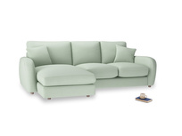 Large left hand Easy Squeeze Chaise Sofa in Soft Green Clever Softie