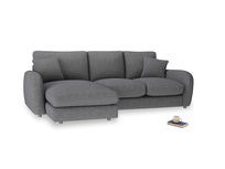 Large left hand Easy Squeeze Chaise Sofa in Strong grey clever woolly fabric