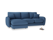 Large left hand Easy Squeeze Chaise Sofa in True blue Clever Linen