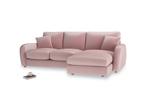Large right hand Easy Squeeze Chaise Sofa in Chalky Pink vintage velvet
