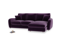 Large right hand Easy Squeeze Chaise Sofa in Deep Purple Clever Deep Velvet