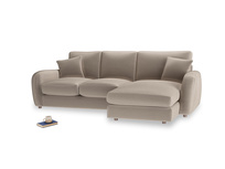 Large right hand Easy Squeeze Chaise Sofa in Fawn clever velvet