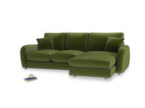 Large right hand Easy Squeeze Chaise Sofa in Good green Clever Deep Velvet