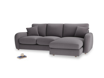 Large right hand Easy Squeeze Chaise Sofa in Graphite grey clever cotton
