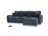 Large right hand Easy Squeeze Chaise Sofa in Liquorice Blue clever velvet