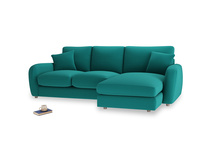 Large right hand Easy Squeeze Chaise Sofa in Indian green Brushed Cotton