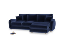 Large right hand Easy Squeeze Chaise Sofa in Goodnight blue Clever Deep Velvet