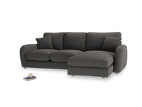 Large right hand Easy Squeeze Chaise Sofa in Old Charcoal brushed cotton