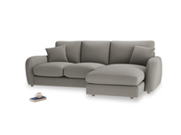 Large right hand Easy Squeeze Chaise Sofa in Monsoon grey clever cotton