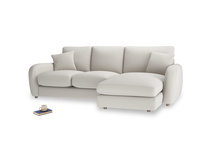 Large right hand Easy Squeeze Chaise Sofa in Moondust grey clever cotton