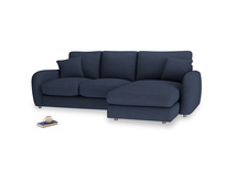 Large right hand Easy Squeeze Chaise Sofa in Night Owl Blue Clever Woolly Fabric