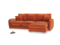Large right hand Easy Squeeze Chaise Sofa in Old Orange Clever Deep Velvet
