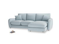 Large right hand Easy Squeeze Chaise Sofa in Scandi blue clever cotton