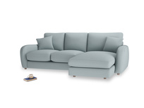 Large right hand Easy Squeeze Chaise Sofa in Quail's egg clever linen