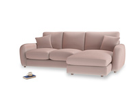 Large right hand Easy Squeeze Chaise Sofa in Rose quartz Clever Deep Velvet