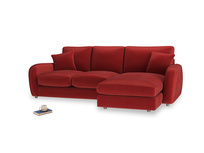 Large right hand Easy Squeeze Chaise Sofa in Rusted Ruby Vintage Velvet