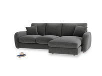 Large right hand Easy Squeeze Chaise Sofa in Shadow Grey wool