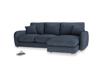 Large right hand Easy Squeeze Chaise Sofa in Selvedge Blue Clever Laundered Linen