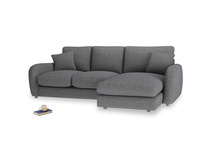 Large right hand Easy Squeeze Chaise Sofa in Strong grey clever woolly fabric