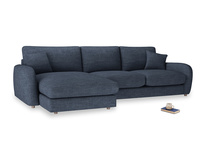 XL Left Hand  Easy Squeeze Chaise Sofa in Selvedge Blue Clever Laundered Linen