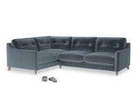 Large Left Hand Slim Jim Corner Sofa in Mermaid plush velvet