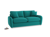 Medium Easy Squeeze Sofa Bed in Indian green Brushed Cotton