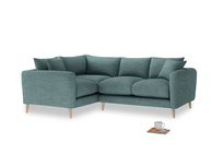 Large Left Hand Squishmeister Corner Sofa in Blue Turtle Clever Laundered Linen