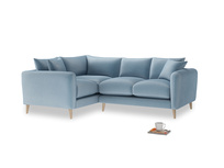 Large Left Hand Squishmeister Corner Sofa in Chalky blue vintage velvet