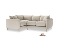 Large Left Hand Squishmeister Corner Sofa in Buff brushed cotton