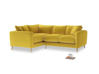 Large Left Hand Squishmeister Corner Sofa in Bumblebee clever velvet