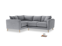 Large Left Hand Squishmeister Corner Sofa in Dove grey wool