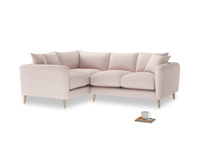 Large Left Hand Squishmeister Corner Sofa in Faded Pink brushed cotton