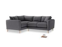 Large Left Hand Squishmeister Corner Sofa in Lead cotton mix