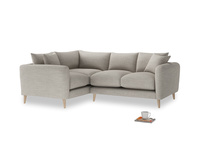 Large Left Hand Squishmeister Corner Sofa in Grey Daybreak Clever Laundered Linen